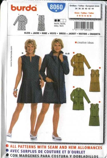 Burda Sewing Pattern 8060 Size 8-18 Misses' Jacket  Dress