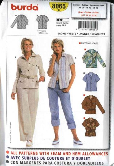 Burda Sewing Pattern 8065 Size 10-20 Misses' Easy Shirt Jacket