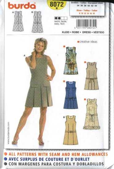 Burda Sewing Pattern 8072 Size 8-18 Misses'  Easy Fitted Dresses