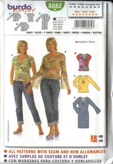 Burda Sewing Pattern 8082 Misses Size 10-24 Easy T-Shirt Dress