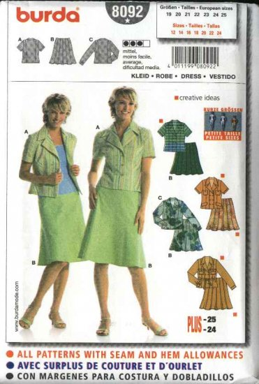 Burda Sewing Pattern 8092 Misses Petite Size 12-24 Misses' Tops Skirts 2-piece Dress