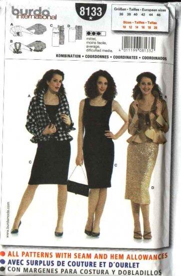 Burda Sewing Pattern 8133 Misses Size 10-22 Jacket Dress Yoke Skirt