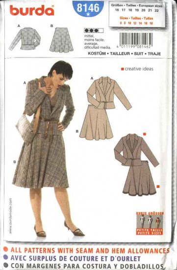 Burda Sewing Pattern 8146 Size 6-18 Misses' Petite Suit Jacket Skirt