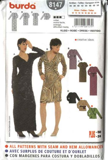 Burda Sewing Pattern 8147 Misses Size 10-24  Mock Wrap Front Dress Top