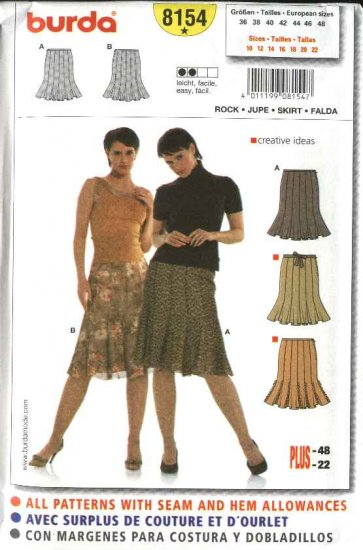 Burda Sewing Pattern 8154 Misses Size 10-22 Easy Gored Skirt