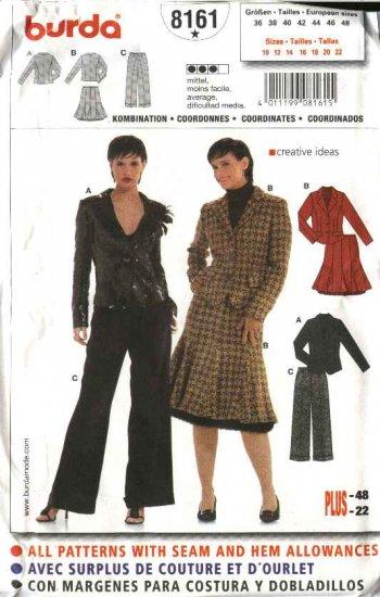Burda Sewing Pattern 8161 Misses Size 10-22 Jacket Skirt Pant Suit