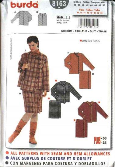 Burda Sewing Pattern 8163 Misses Size 10-24 Easy Jacket Mock Wrap Skirt