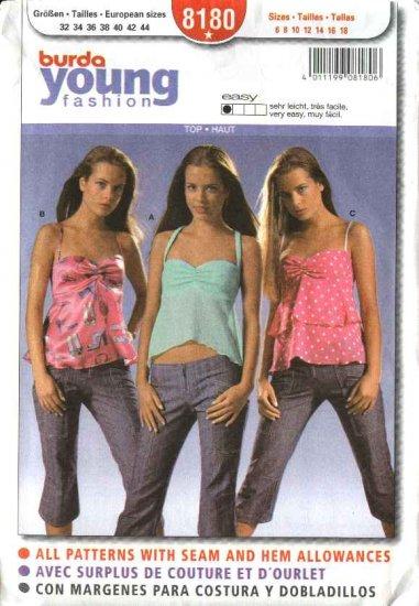 Burda Sewing Pattern 8180 Misses Size 6-18 Easy Fashion Summer Top
