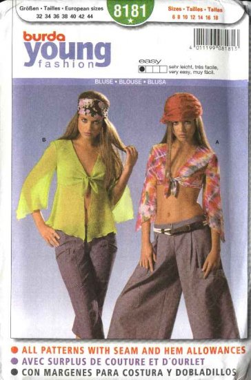 Burda Sewing Pattern 8181 Size 6-18 Misses' Easy Fashion Top