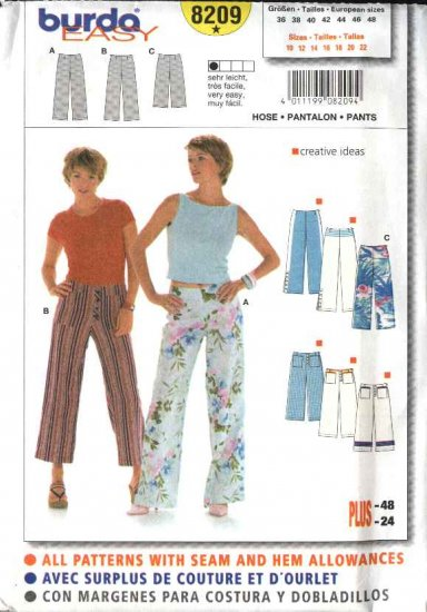 Burda Sewing Pattern 8209 Misses Size 10-22 Easy Fitted Pants