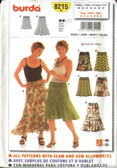 Burda Sewing Pattern 8215 Misses Size 10-22 Easy Flared Gored Ruched Skirt