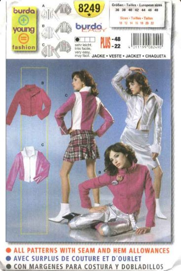 Burda Sewing Pattern 8249 Misses Size 10-22 Easy Close Fitting Jackets