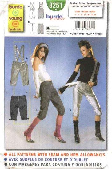 Burda Sewing Pattern 8251 Misses Size 8-20 Easy Pants Suspenders