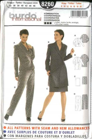 Burda Sewing Pattern 8260 Misses  Size 8-20 Suit - Jackets Pants Skirt