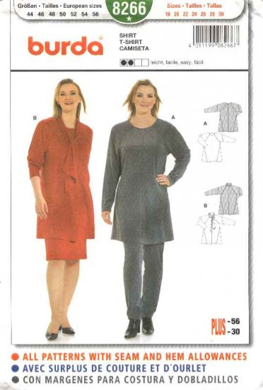 Burda Sewing Pattern 8266 Women's Plus Size 18-30 Pullover Knit Shirt Scarf