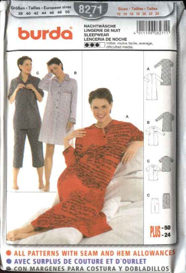 Burda Sewing Pattern 8271 Misses Size 12-24 Sleepwear Nightshirt Pajamas Nightgown