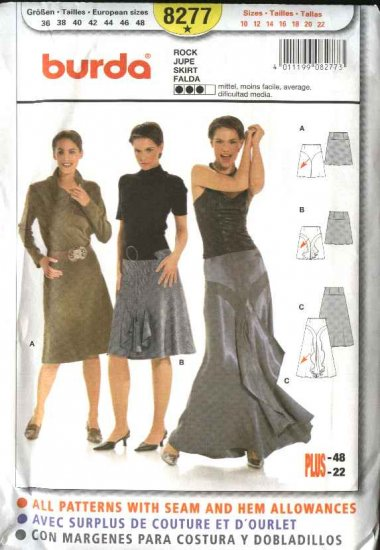 Burda Sewing Pattern 8277 Misses Size 10-22 Short Long Bias Formal Skirts