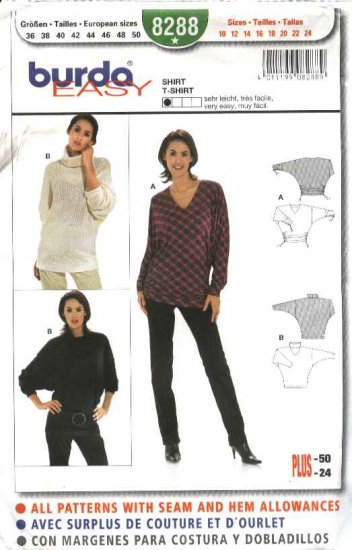 Burda Sewing Pattern 8288 Misses Size 10-24 Easy Pullover Knit Top