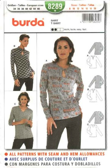 Burda Sewing Pattern 8289 Misses Size 8-20 Easy Pullover Knit Tops