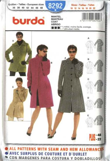 Burda Sewing Pattern 8292 Misses Size 10-22 Lined Coats Jackets