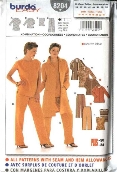 Burda Sewing Pattern 8304 Size 8-20 Misses' Easy Lined Dresses Jumpers