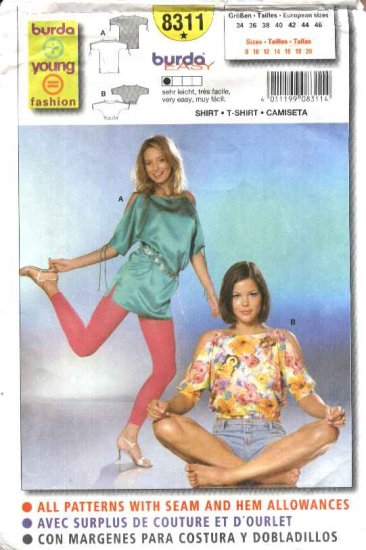 Burda Sewing Pattern 8311 Misses Size 8-20 Easy Pullover Top T-shirt
