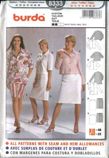 Burda Sewing Pattern 8333 Misses Size 10-22 Easy Jackets Skirts Suits