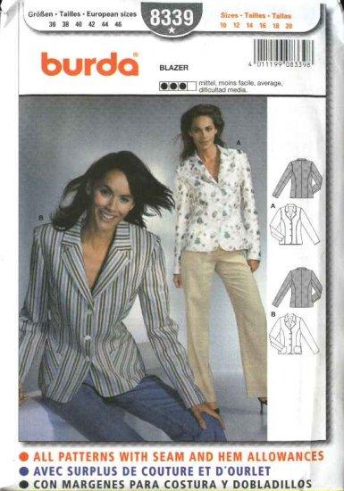 Burda Sewing Pattern 8339 Misses Size 10-20 Lined Blazers Jackets