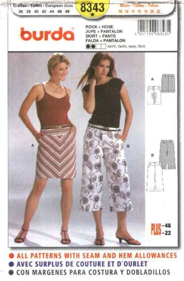 Burda Sewing Pattern 8343 Misses Size 10-22 Yoked Skirt Capri Pants