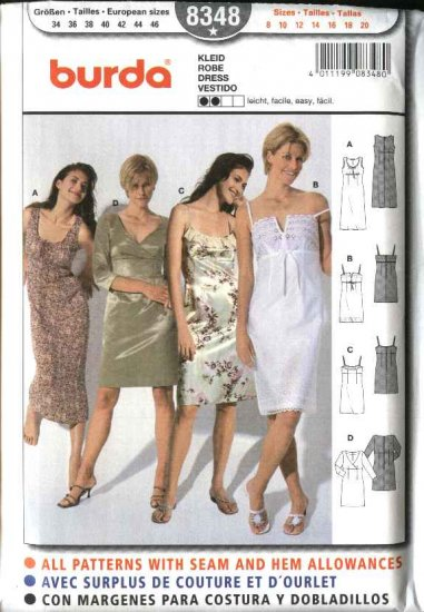 Burda Sewing Pattern 8348 Misses' Size 8-20 Easy Empire Waist Dress