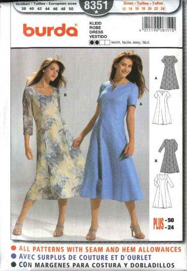 Burda Sewing Pattern 8351 Misses Size 12-24 Easy Classic Dresses