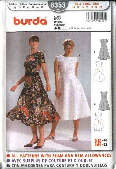 Burda Sewing Pattern 8353 Misses Size 10-22 Easy Summer Sleeveless Flared Skirt Dresses