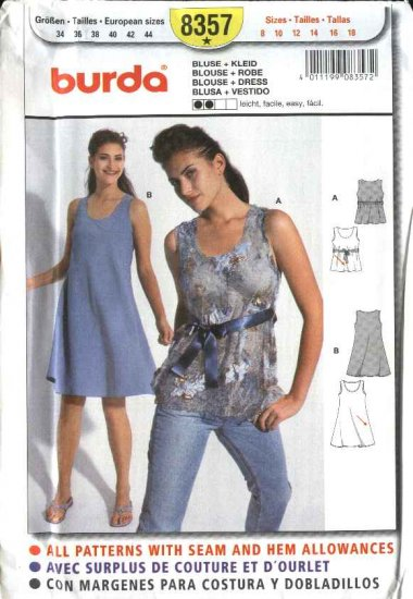 Burda Sewing Pattern 8357 Misses Size 8-18 Easy Blouse Flared Dress