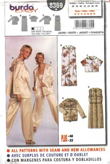 Burda Sewing Pattern 8369 Misses Size 10-22 Easy Hooded Dress Jacket Top
