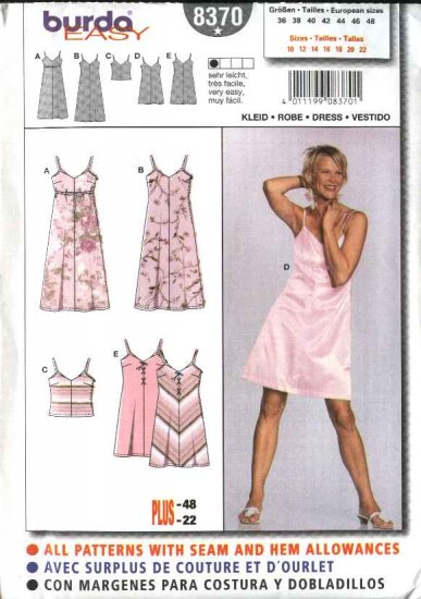 Burda Sewing Pattern 8370 Misses Size 10-22 Slip Style Dresses Camisole Top