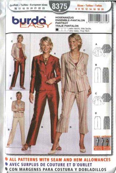 Burda Sewing Pattern 8375 Misses Petite Size 6-20 Easy Jacket  Pants Suit