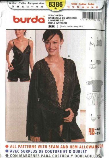 Burda Sewing Pattern 8386 Misses Size 10-22 Easy Lingerie Set Camisole Panties Bed Jacket Tap Pants