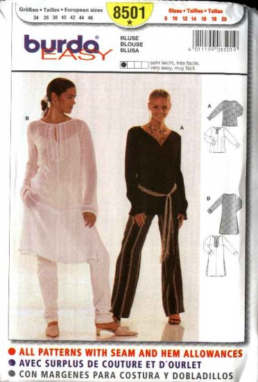 Burda Sewing Pattern 8501 Misses Size 8-20 Easy Blouse Top Tunic Duster