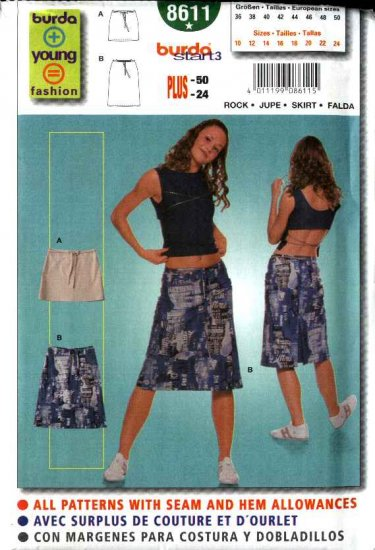 Burda Sewing Pattern 8611 Misses Size 10-24 Close fitting Skirts