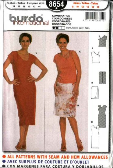 Burda Sewing Pattern 8654 Misses Size 8-18 Easy Fitted Top Dress Wrap Skirt