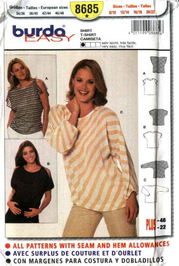 Burda Sewing Pattern 8685 Misses Size 8-22 Easy Pullover Shirts Tops