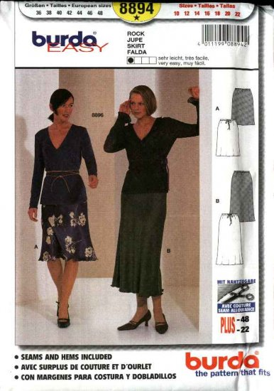 Burda Sewing Pattern 8894 Misses Size 10-22 Easy Fitted Bias Skirt