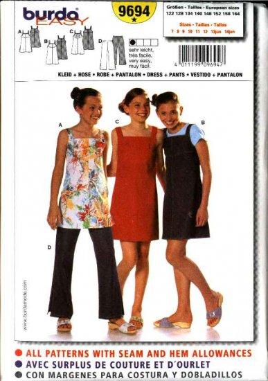 Burda Sewing Pattern 9694 Size 7-14jr Junior Girls Easy  Dress Jumper Top Pants