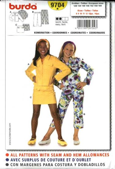 Burda Sewing Pattern 9704 Size 8-14jr Girls Easy  Jacket Pants Mini-Skirt