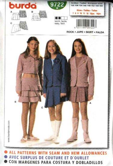 Burda Sewing Pattern 9722 Size 7-14jr Junior's Easy Yoke Skirts