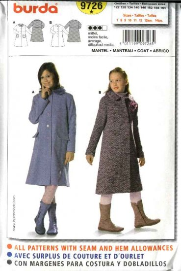 Burda Sewing Pattern 9726 Size 7-14jr Junior's Girls Lined Long Coats