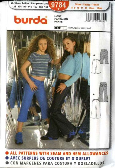 Burda Sewing Pattern 9784 Size 8-14jr Junior girls Easy  Stretch Pants Jeans