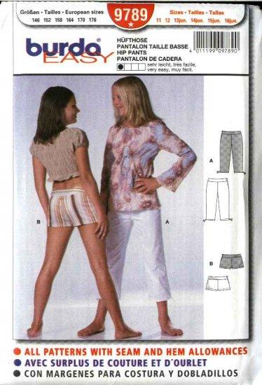 Burda Sewing Pattern 9789 Size 11-16jr Junior girls  Yoke Hip Pants