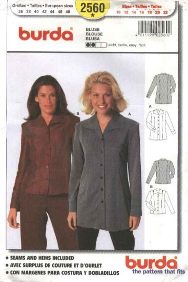 Burda Sewing Pattern 2560 Misses Sizes 10-22 Easy Blouse Shirt