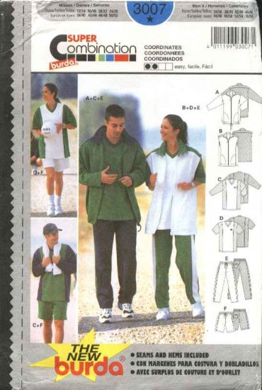 Burda Sewing Pattern 3007 Unisex sizes 12-26/ 34-48 Exercise clothes Shirts Shorts Pants Jacket